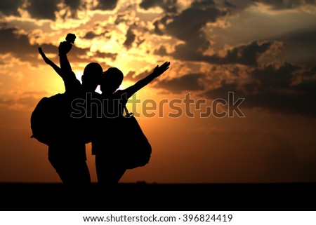 Couple of best friends taking selfie during sunset