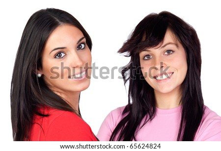 Couple of brunette girls isolated on a over white background