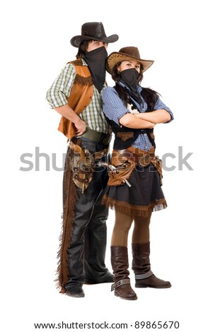 Couple of burglars in cowboy costumes. Isolated - stock photo