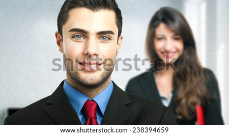Couple of business partners - stock photo
