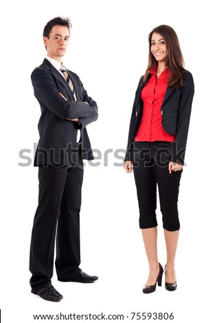 Couple of businessmen isolated on white, full length - stock photo