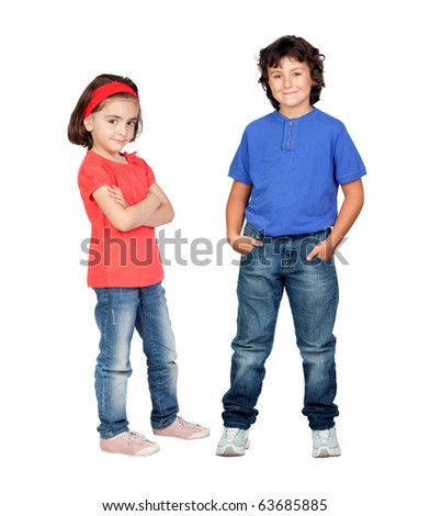 Couple of children isolated on white background - stock photo