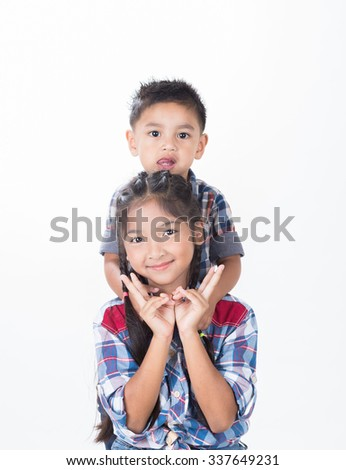 Couple of children on white background