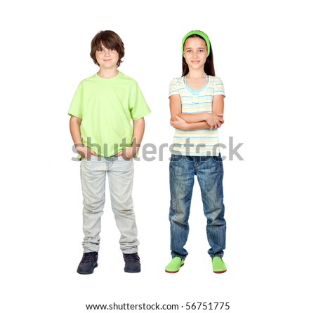 Couple of children standing isolated on a white background - stock photo