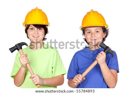 Couple of children with helmet and hammer over a white background