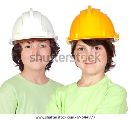 Couple of children with helmet isolated on a over white background - stock photo