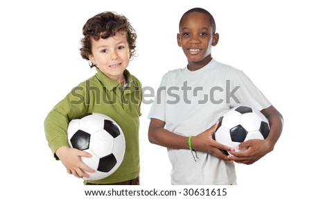 Couple of children with soccer ball a over white background - stock photo
