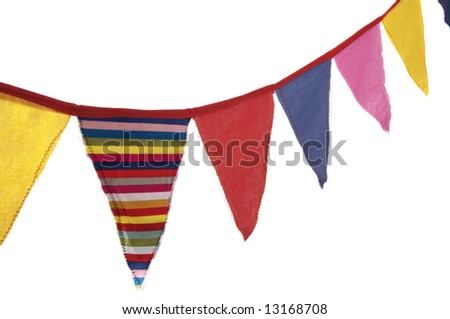 Couple of colorful decoration flags, is it someone's birthday? - stock photo