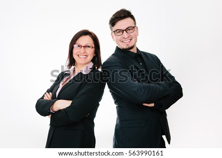 Couple of cute business partners on white background