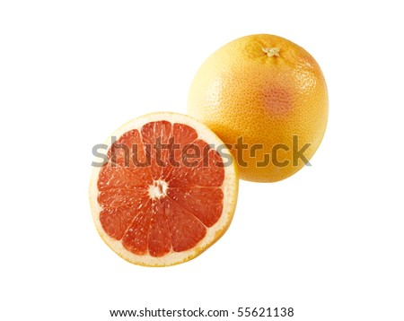Couple of delicious grapefruits isolated on white.  Clipping path included in the file!