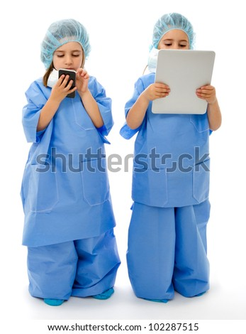 couple of doctors communication with tablet and phone without logo - stock photo