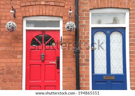 Couple of doors in Chester England UK - stock photo