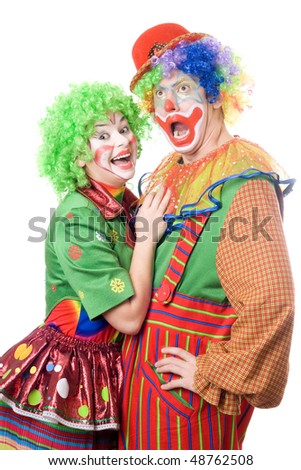 Couple of funny clowns. Isolated on white background - stock photo
