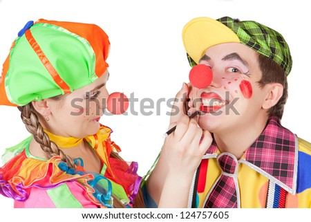 Couple of happy clowns i?solated on white background - stock photo