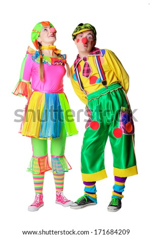 Couple of happy clowns. Isolated on white - stock photo