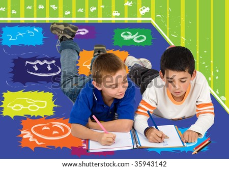 Couple of kids at their room colouring in a notebook - stock photo