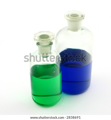 Couple of laboratory bottles with colourful liquids