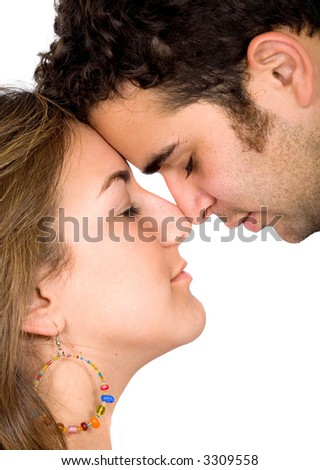 couple of lovers in love face to face - isolated over a white background