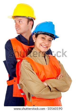 couple of manual workers isolated over a white background - stock photo
