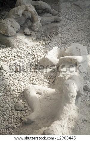 couple of people dead in pompeii - stock photo