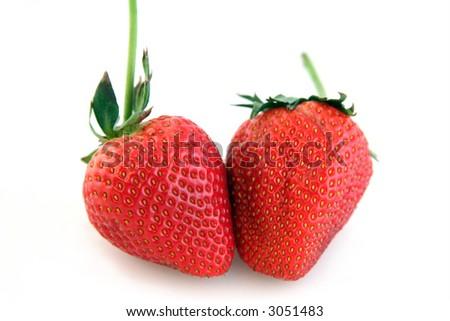 Couple of Ripe Strawberries on White Background - stock photo