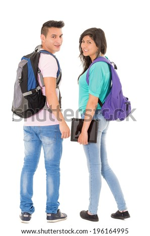 couple of students with backpack walking away on white background