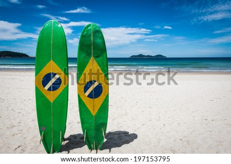 Couple of Surfboard of Brazil, at Ilha Grande Tropical Island, Lopes Mendes beach, Rio do Janeiro. South America Adventure. - stock photo