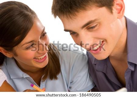 couple of teenagers - stock photo