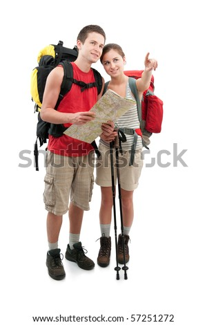 couple of teenagers finding a route. Isolated on white - stock photo