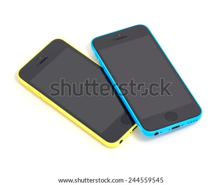 Couple of touchscreen phones, isolated on white.