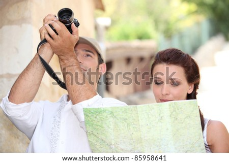 couple of tourists - stock photo