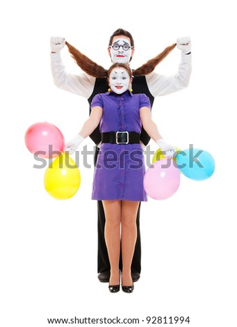 couple of two funny emotional mimes. isolated on white background - stock photo
