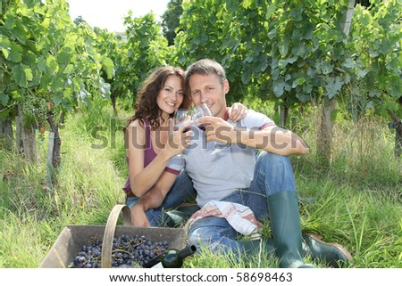 Couple of wine growers testing wine in vineyard - stock photo