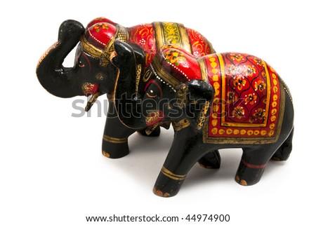 Couple of wooden elephants isolated on white background - stock photo