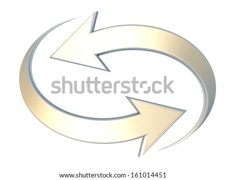 Couple of yellow curved arrows pointing in opposite directions,referring to concepts such as synchronization, connection, process, calculation, renewal or refresh, interdependency, or reciprocity  - stock photo