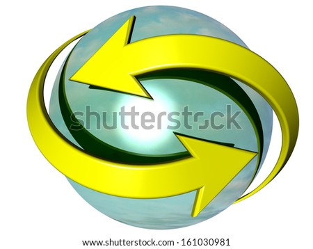 Couple of yellow curved arrows pointing in opposite directions, turning around a turquoise blue sphere, referring to concepts such as synchronization, processes, as well as exchange as well as renewal - stock photo