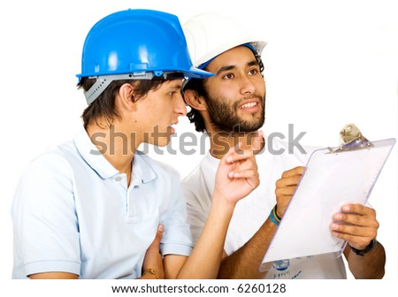 couple of young architects isolated over white - stock photo