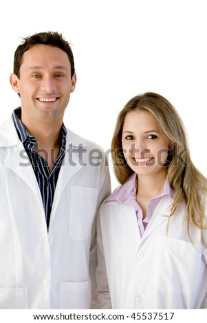 Couple of young doctors isolated over a white background