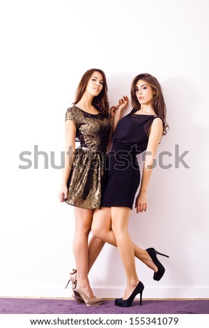couple of young women in  elegant cocktail  dresses indoor shot - stock photo