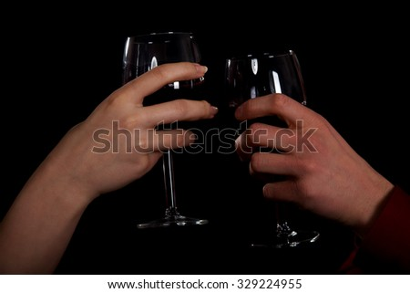 Couple on a date drinking wine.