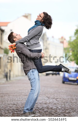 couple on a date in the old city - stock photo
