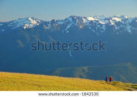 Couple on a hiiking trail in Olympic National Park in Washington State - stock photo