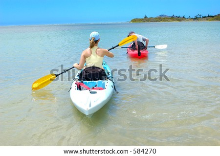 couple on a kayak 2 - stock photo