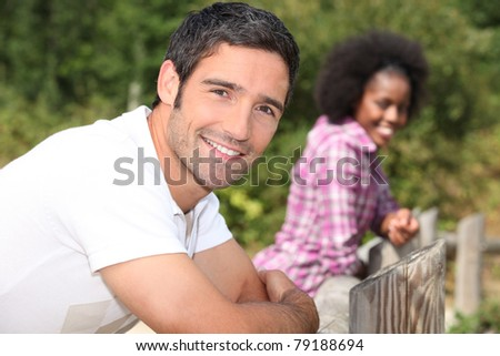 couple on a walk in the country - stock photo