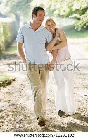 Couple on summer walk - stock photo