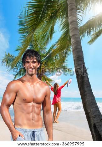 Couple on the beach in Koh Samui Thailand - stock photo