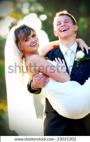 Couple on their wedding day - stock photo
