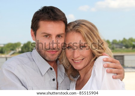 couple on vacation - stock photo