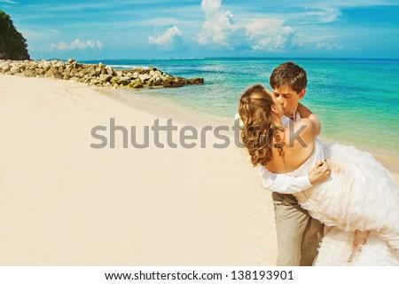 couple on wedding day - bali - stock photo