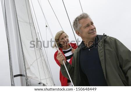 Couple on yacht - stock photo